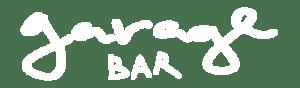 Logotipo de Garage Bar en blanco. Vino natural en España para todo el mundo